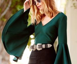fashion, girl, and green image