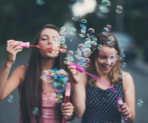 friendship, bubbles, and girls image