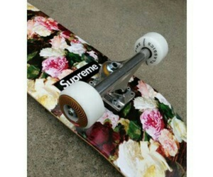 flowers, skate, and supreme image