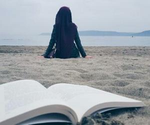 beach, book, and sea image