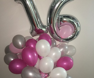 balloons, birthday, and gray image
