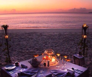 dinner, beach, and romantic image