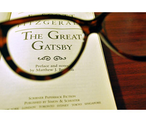 books, glasses, and the great gatsby image