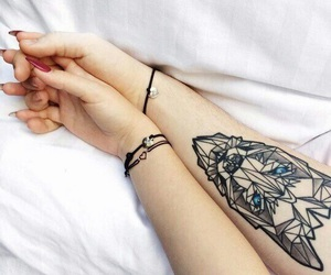tattoo, couple, and wolf image
