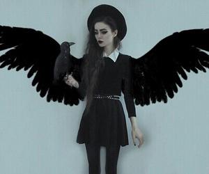 black, dark, and angel image