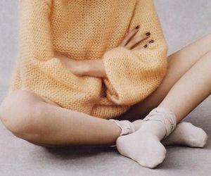 girl, black and white, and socks image
