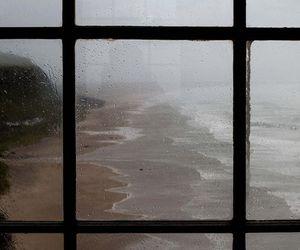 window, rain, and sea image