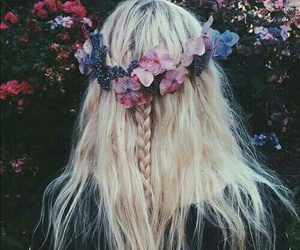 blonde hair, a crown of flowers, and the perfect hairstyle image