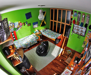 room, bed, and green image