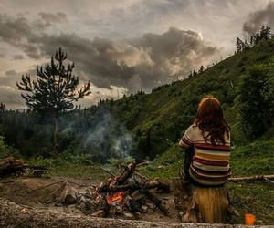 fire, girl, and hipster image