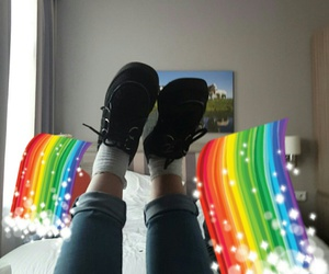 creepers, rainbow, and shoes image