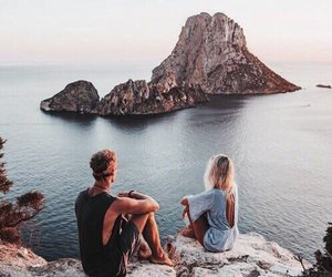 couple, beach, and travel image