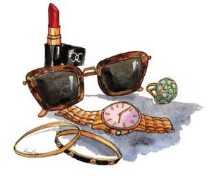 drawing, lipstick, and sunglasses image