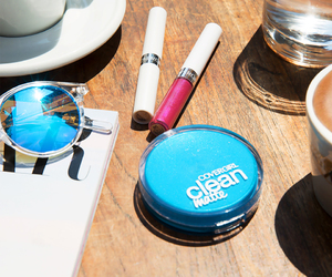 blue, makeup, and sunglasses image