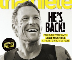 lance armstrong, magazine, and triathlete image