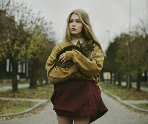 girl, cat, and autumn image