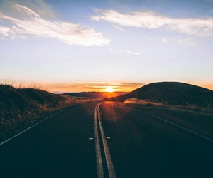 sunset, road, and sun image