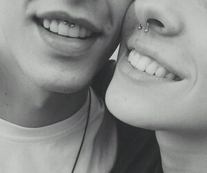 piercing, couple, and smile image