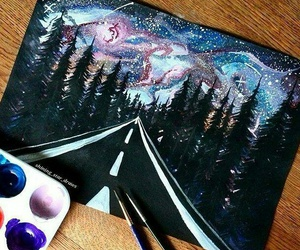 art, road, and sky image