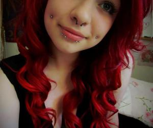 piercing, girl, and red hair image