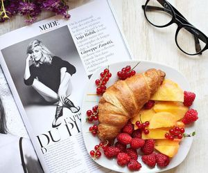 food, breakfast, and magazine image