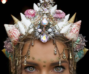 mermaid, crown, and beauty image