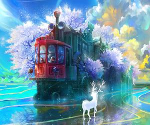 deer, train, and anime image