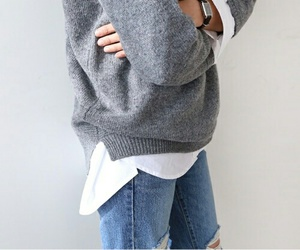 blouse, grey, and sweater image