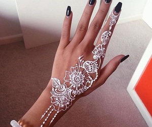fashion, oriental, and henna white image