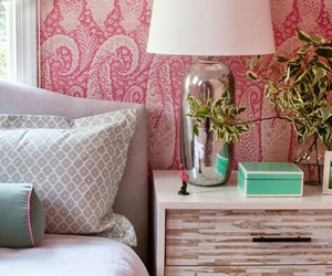 bedroom, home decor, and pink bedroom image