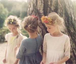 girl, kids, and flowers image