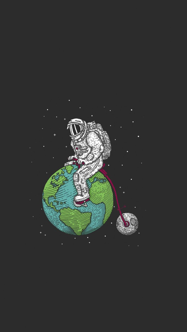 Astronaut Earth Moon Bicycle Iphone 6 Plus Hd Wallpaper
