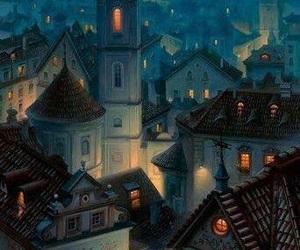 night, city, and art image