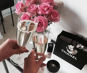 chanel, flowers, and champagne image