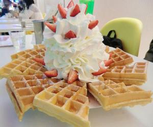 food, waffles, and dessert image