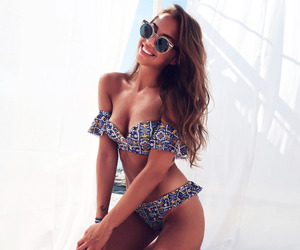 beach, outfit, and swimwear image