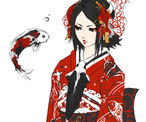 koi, fish, and kimono image