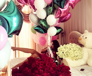 balloons, flowers, and rose image