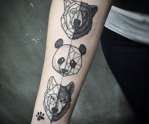tattoo, animal, and panda image
