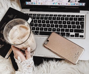 coffee, iphone, and laptop image