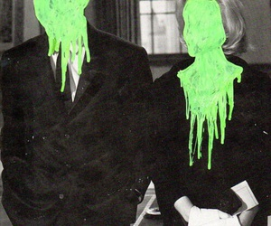 green, black and white, and couple image