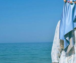 blue, hijab, and sea image