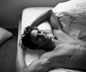 bed, cute, and black and white image