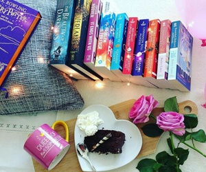 books, cake, and colours image