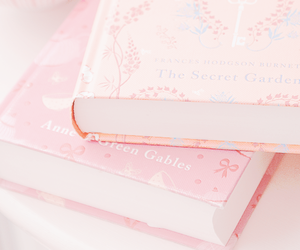 pink, book, and girl image
