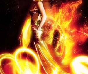 the hunger games, Jennifer Lawrence, and fire image