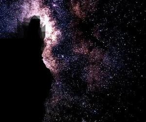night stars rock mountain image