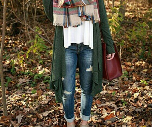 fall outfit, blue ripped jeans, and long wavy blonde hair image