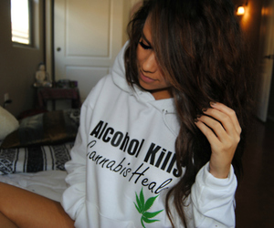 girl, cannabis, and hair image