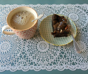 brownie, coffee, and delicious image